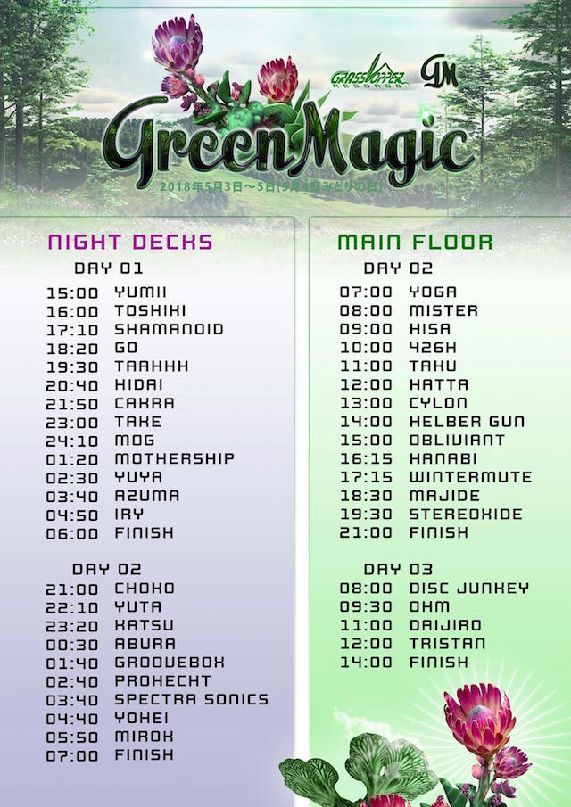 Time Table @ Green Magic 2018