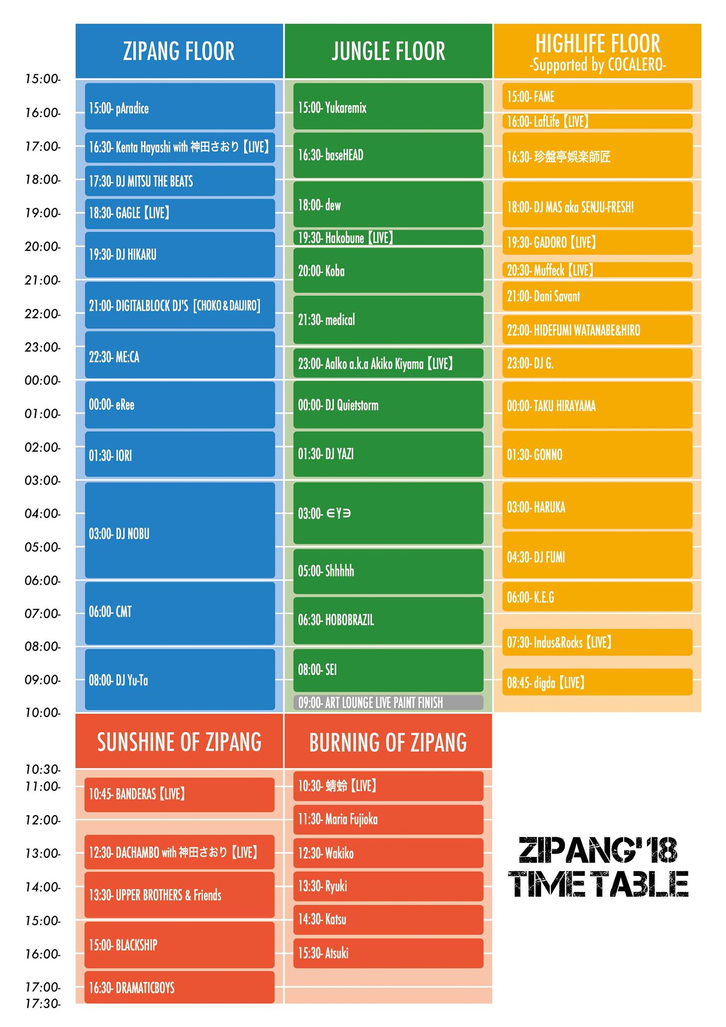 ZIPANG 2018 Time Table