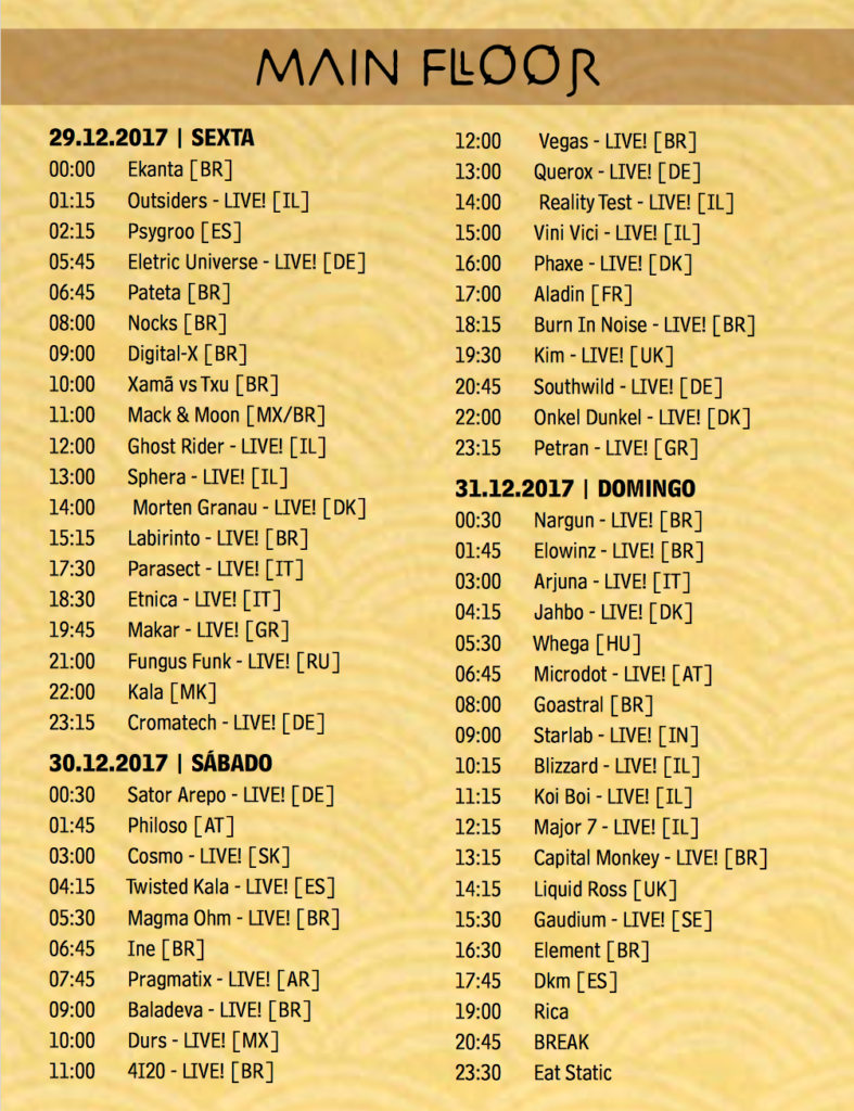 MAIN stage  time table Universo Paralello