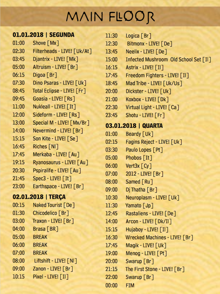 MAIN stage  time table2 Universo Paralello