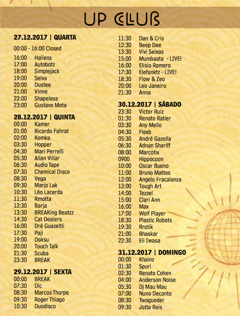 UP CLUB time table Universo Paralello