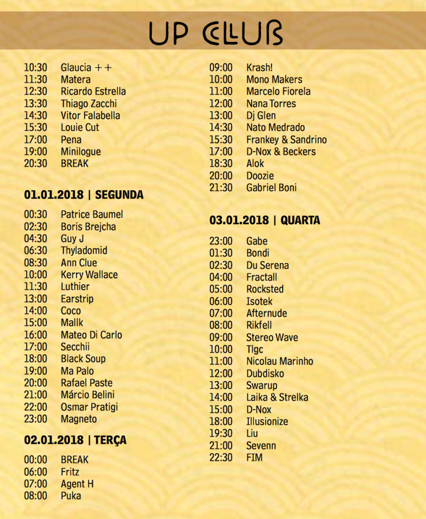 UP CLUB  time table2 Universo Paralello