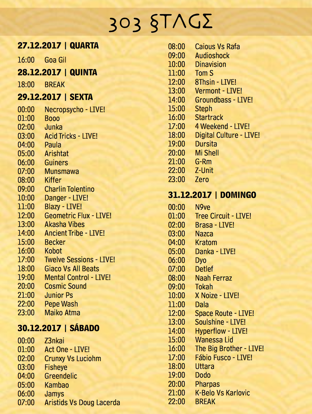 303stage time table Universo Paralello