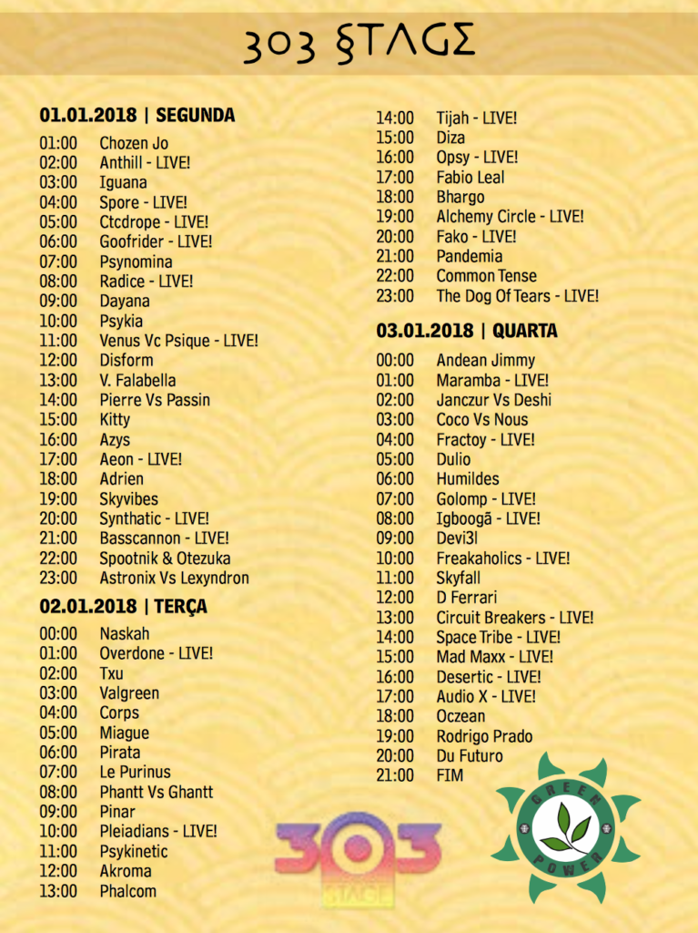 303stage time table2 Universo Paralello