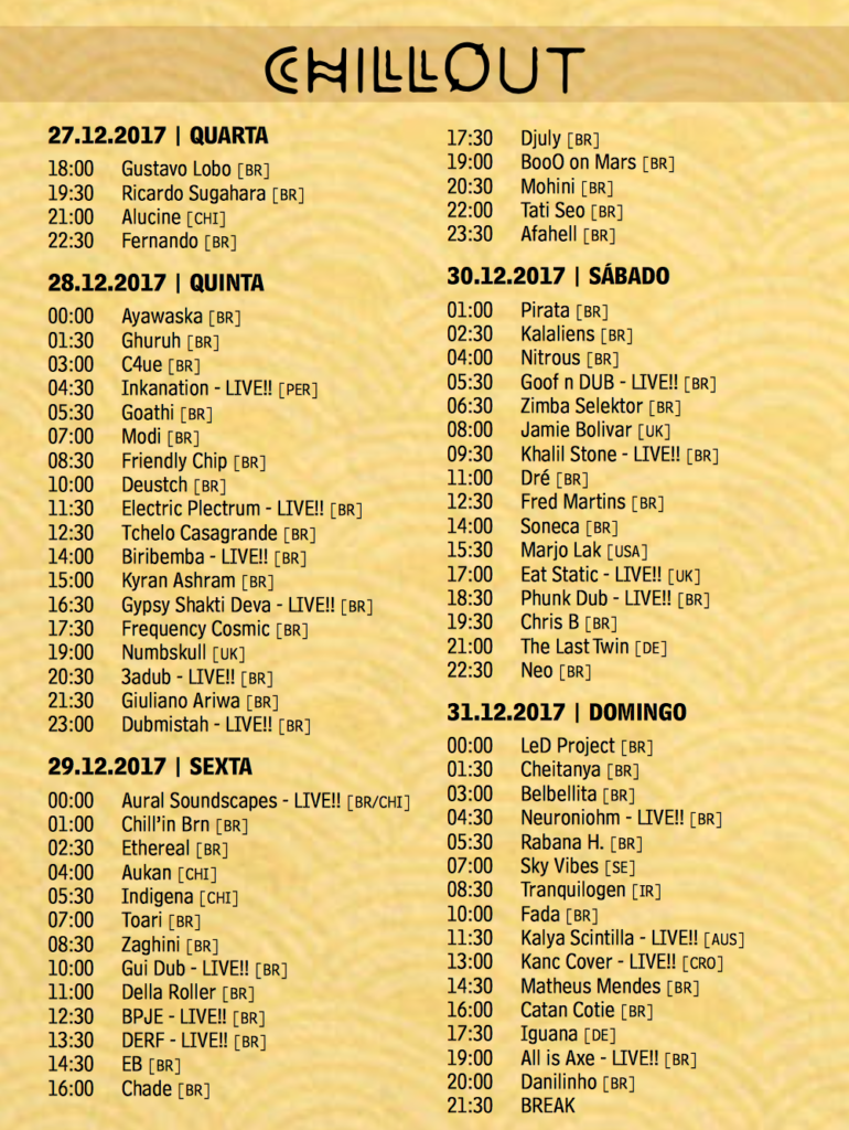 CHILLOUT stage  time table Universo Paralello
