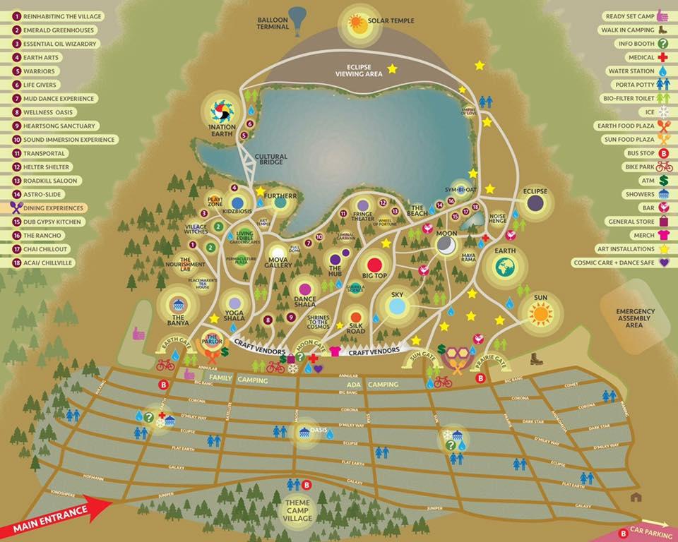 オレゴン皆既日食フェスティバルの会場地図