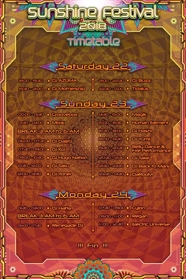 Sunshine Festival 2018_time table at main floor
