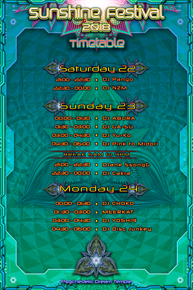 Sunshine Festival 2018 Time Table Sub Floor