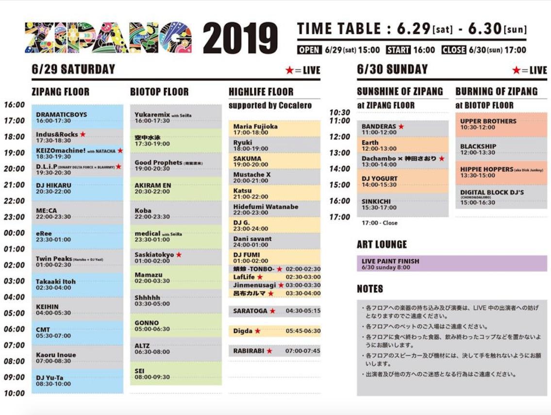 ZIPANG2019 timetable