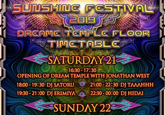 sunshine festival 2019 time table